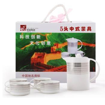 长城 浪漫人生5头陶瓷茶具功夫喝茶套礼盒装中式风格 高档送礼