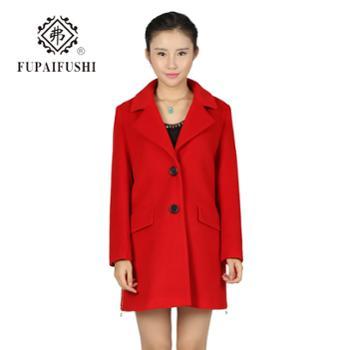 弗2015秋冬新款女装韩版西装领毛呢大衣中长款呢子外套厂家直销