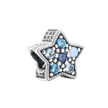 潘多拉PANDORA时尚蓝色五角星形璀璨星辰串珠796379NSBMX