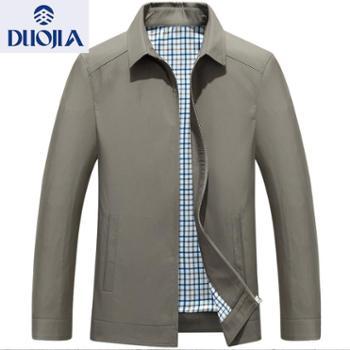 多佳秋季新款中年男夹克衫免烫薄款上装男士夹克爸爸装翻领外套310040