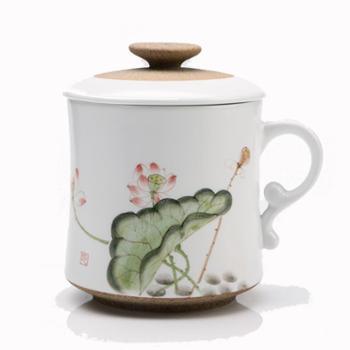 清彩景德镇手绘陶瓷茶杯办公杯带过滤