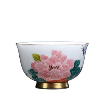 清彩陶瓷功夫茶具主人杯单杯手绘釉下五彩品茗杯景德镇纯手工茶杯