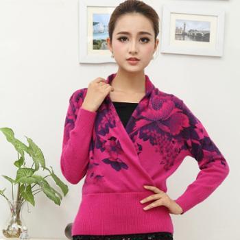 紫袭新款女式羊毛衫大V领时尚印花羊毛针织衫时尚蝙蝠袖百搭羊毛毛衣