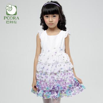 PCORA巴柯拉 儿童女童印花公主甜美蛋糕背心裙