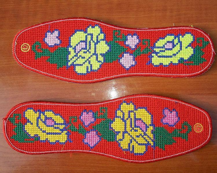 巧手纯棉仿手工绣花鞋垫十字绣 牡丹花鞋垫 3双