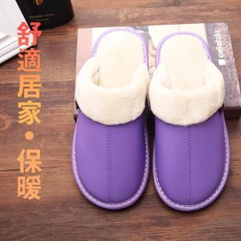 包邮保暖皮拖鞋居家男女情侣室内防滑牛筋底木地板家居棉拖鞋冬季