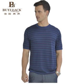 法国拜邦 男士商务休闲时尚横条透气桑蚕丝短袖T恤 TB05-201 54
