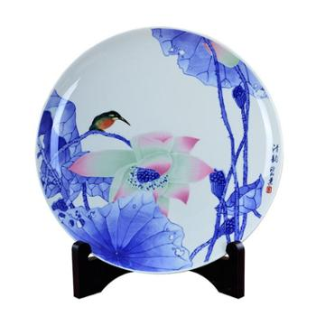 瓷博 景德镇陶瓷盘装饰盘子摆件 青花荷花鸟清韵特色玄关现代中式居家工艺品