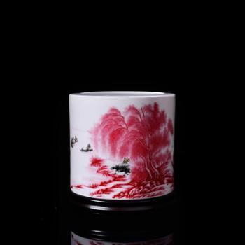 瓷博 景德镇瓷器笔筒桌面摆件工艺品创意大号江南好山水 收纳整理装饰品