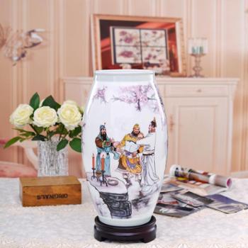 瓷博景德镇陶瓷花瓶摆件工艺品桃园结义瓷器中式家居客厅装饰摆设三国演义故事