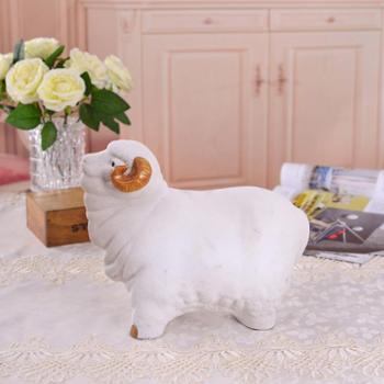 瓷博 景德镇陶瓷瓷雕家居装饰品客厅摆件 熊钢如吉羊十二生肖瓷