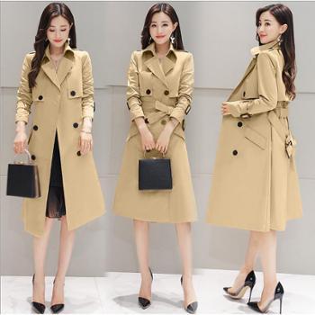兰裳依蔻秋冬新款女装韩版翻领双排扣含腰带风衣女士韩版外套