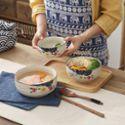 佰润居 横纹饭碗 日式陶瓷釉下彩餐具汤碗拉面碗