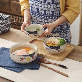 佰润居横纹饭碗日式陶瓷釉下彩餐具汤碗拉面碗