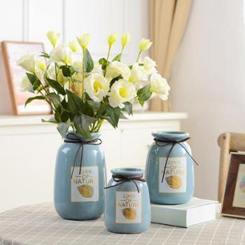小清新陶瓷椭圆形花瓶大号客厅插花家居装饰现代简约创意摆设摆件