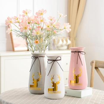小清新陶瓷花瓶长款双耳款客厅插花家居装饰现代简约创意摆设摆件