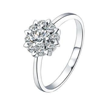 裕景珠宝18K豪华克拉钻群镶结婚戒指 克拉效果钻戒