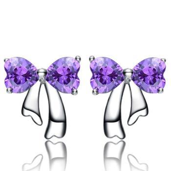 925纯银蝴蝶结耳钉淑女气质可爱耳饰饰品耳环
