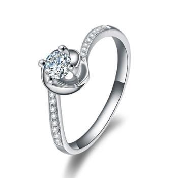 铂金PT950花型满钻戒指克拉钻石白金戒指求婚送老婆女友礼物配证书