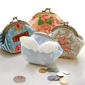 复古纯手工手拿包 甜美可爱个性零钱包 精美百搭口金包包邮