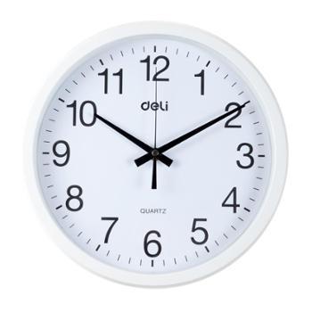 deli得力挂钟钟表9005黑色边框直径Φ30cm家用餐厅客厅教室办公室会议室使用发货颜色随机