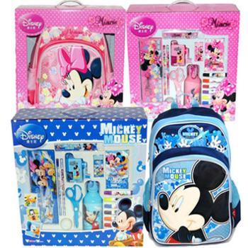 Disney迪士尼文具盒 17件豪华大套装 带书包水壶塑料笔盒水彩笔 DM0900
