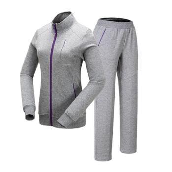 沃可22ND女款针织纯色休闲舒适撞色拉链运动套装522113402