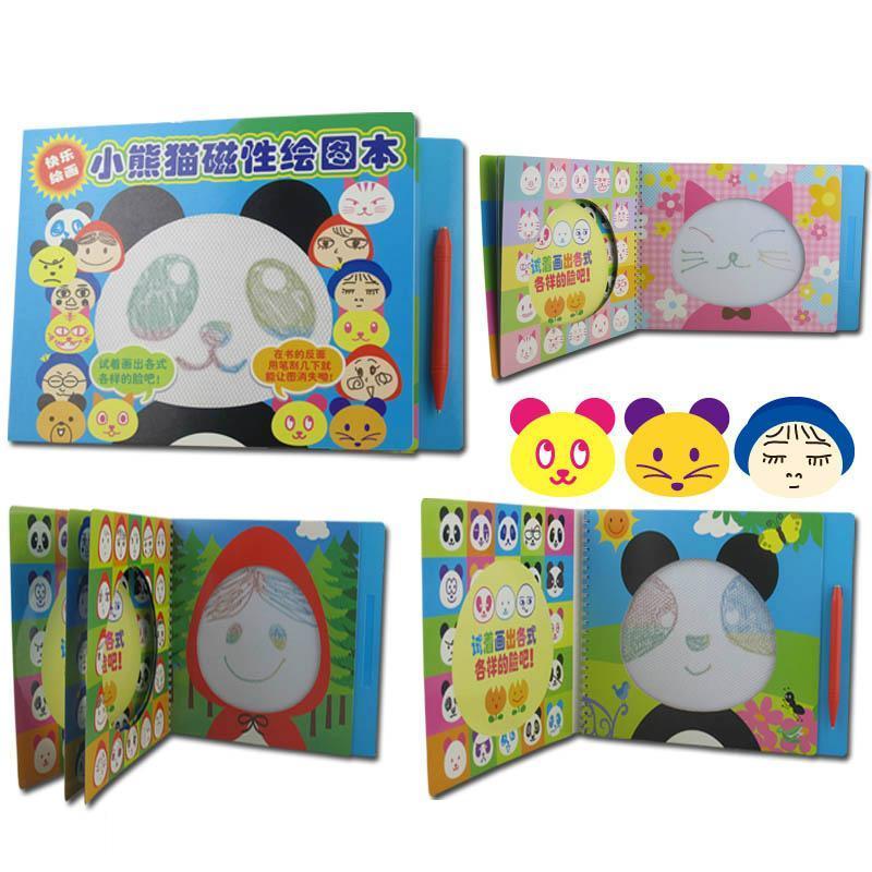 小熊猫磁性绘画本画板 儿童画画书 宝宝填色涂色本画画本益智玩具