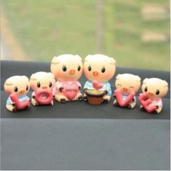 哈雷可爱LOVE小猪猪内饰装饰套装车内摆件一对大猪+一套小猪