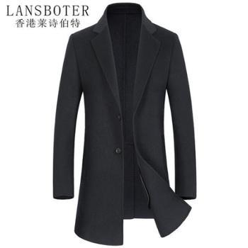 莱诗伯特 秋冬双面呢羊毛大衣男纯手工中长款毛呢外套男士羊绒大衣 7308A