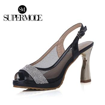 supermode 新款性感烫钻鱼嘴真丝网粗高跟防水台女鞋