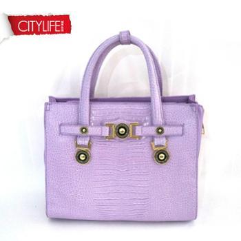 2014夏季新款CITYLIFE城市生活紫色鳄鱼纹手提斜挎女包11282423