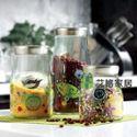 厨房家居鸟语花香三件套玻璃瓶密封储物罐透明食品罐宜家