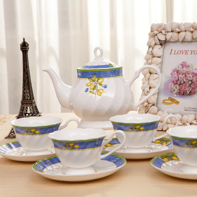 锦晖陶瓷青青柠檬 英式咖啡具欧式茶具下午咖啡壶咖啡