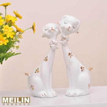 创意田园家居饰品 时尚个性摆件 实用结婚礼物 陶瓷可爱情侣对狗