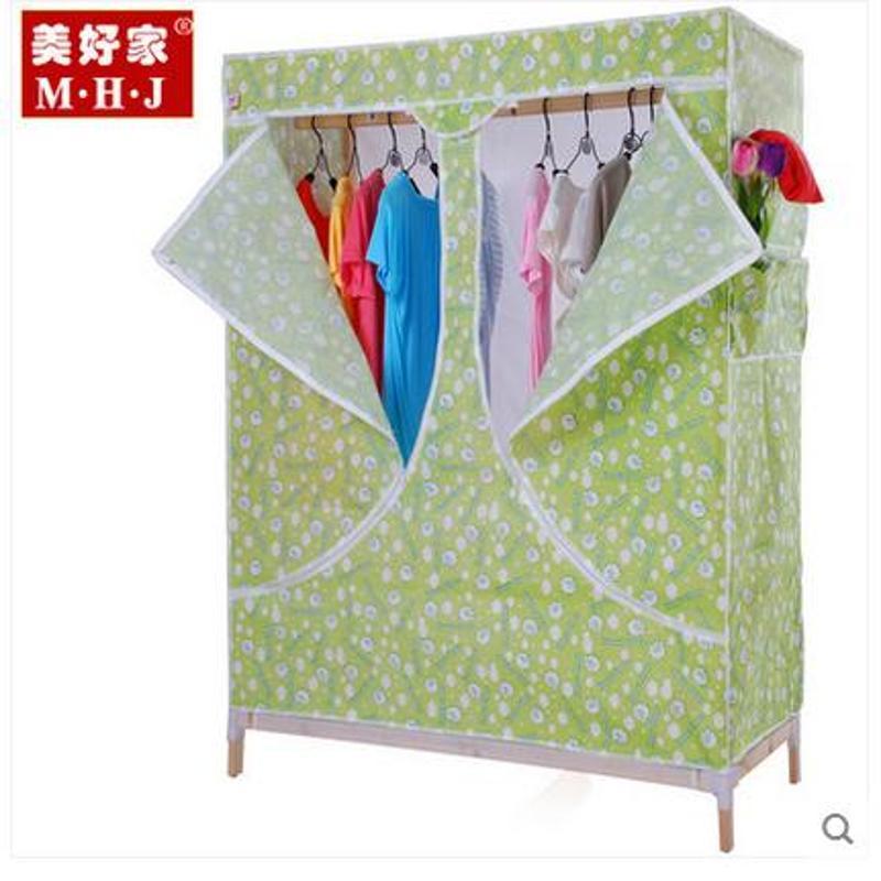 美好家简易实木衣柜 无纺布衣柜衣橱