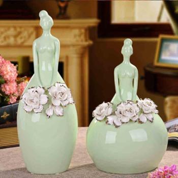 贝汉美欧式现代简约陶瓷工艺品结婚礼物装饰摆件描金玫瑰芭蕾女