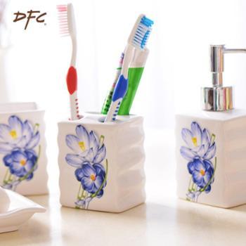 DFC欧式卫浴四件套装创意漱口杯套件五陶瓷浴室用品结婚乔迁礼品