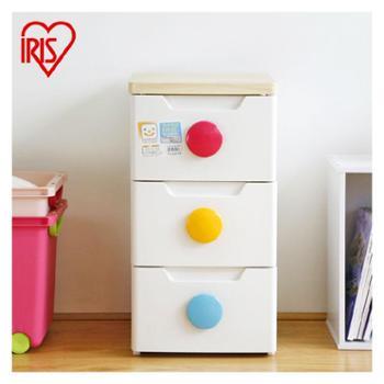 爱丽思IRIS 高级三层树脂收纳柜抽屉柜整理柜环保无毒 彩扣 HG-323