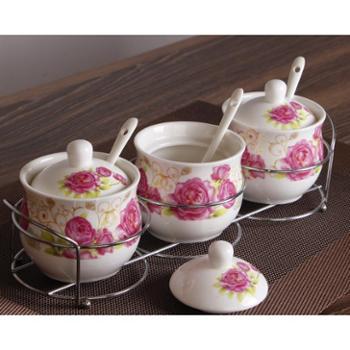 小饼家创意陶瓷调味罐韩式调味盒瓶调料罐盒瓶盐罐三件套装厨房用品用具