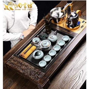 尚言坊功夫实木茶盘石头茶海汝哥窑陶瓷紫砂整套茶具套装四合一简约家用