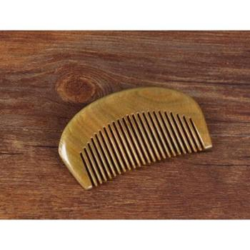 小饼家迷你口袋梳天然绿檀木梳子头梳按摩梳整木小木梳便携包包梳可刻字