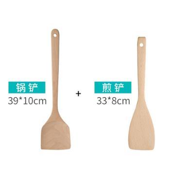 天竹木铲家用耐高温木锅铲不粘锅专用炒菜铲子长柄加长套装厨具