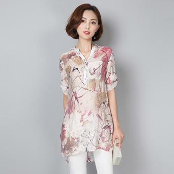 阿诗璐女士文艺范短袖衬衣 宽松印花半袖中长款女装衬衫 5028