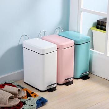 欧润哲长方形垃圾桶脚踏式厨房家用卫生间客厅时尚创意收纳桶5升