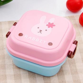 欧润哲 540ml兔子款双层便当盒 可爱便携饭盒