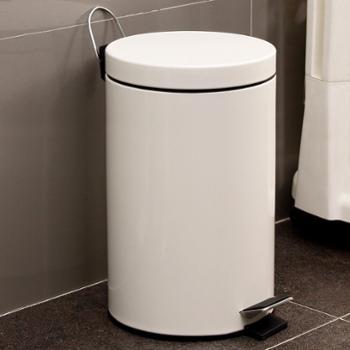 欧润哲米白圆形12升静音版垃圾桶家用金属收纳脚踏垃圾箱