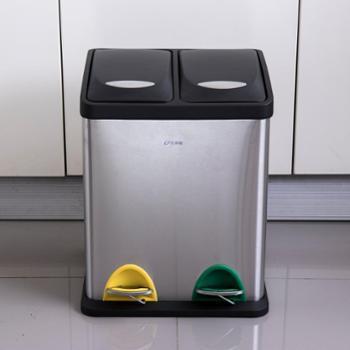 欧润哲 厨房不锈钢脚踏两格/三格分类垃圾桶 商用家用干湿垃圾桶