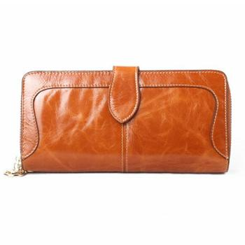 包邮哦 高档新款油蜡牛皮长款女士真皮钱包大容量女式手拿包钱夹