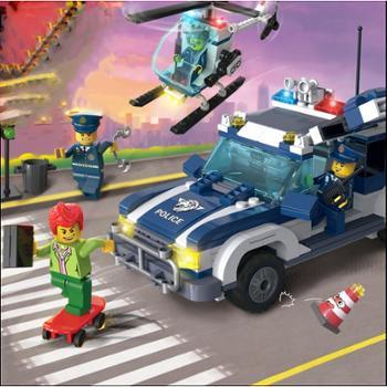 启蒙玩具城市系列陆空追踪1117积木小颗粒拼装模型儿童益智玩具拼装塑胶玩具礼物